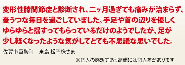 佐賀市巨勢町 東島 松子様さま変形性膝関節症と診断され、二ヶ月過ぎても痛みが治まらず、 憂うつな毎日を過ごしていました。手足や首の辺りを優しく ゆらゆらと揺すってもらっているだけのようでしたが、足が 少し軽くなったような気がしてとても不思議な思いでした。